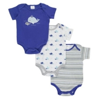 "Cribmates Baby Boys' ""Cute Whale"" 3-Pack Bodysuits"